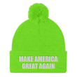 Load image into Gallery viewer, American Patriots Apparel Winter Hats Neon Green / One Size MAKE AMERICA GREAT AGAIN White Text Pom Pom Knit Cap (10 Variants)