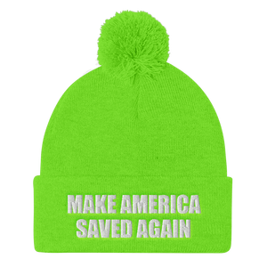 American Patriots Apparel Winter Hats Neon Green / One Size MAKE AMERICA SAVED AGAIN White Text Pom Pom Knit Cap (10 Variants)