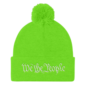 American Patriots Apparel Winter Hats Neon Green / One Size We the People Pom Pom Knit Cap (10 Variants)