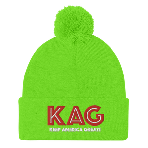 American Patriots Apparel Winter Hats Neon Green / OSFA KAG Keep America Great! Pom-Pom Beanie (10 Variants)