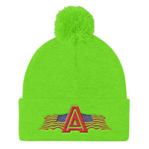 American Patriots Apparel Winter Hats Neon Green Pom Pom Knit Cap With American Patriots Apparel Logo