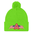 Load image into Gallery viewer, American Patriots Apparel Winter Hats Neon Green Pom Pom Knit Cap With APA Logo