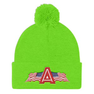 American Patriots Apparel Winter Hats Neon Green Pom Pom Knit Cap With APA Logo