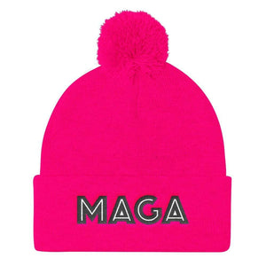 American Patriots Apparel Winter Hats Neon Pink MAGA Pom Pom Knit Cap (Flat Embroidery)