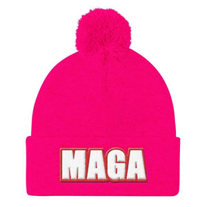 American Patriots Apparel Winter Hats Neon Pink MAGA Sportsman SP15 Pom Pom Knit Cap - Red Outline (10 Variants)