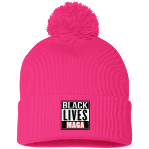 CustomCat Winter Hats Neon Pink / One Size Black Lives MAGA SP15 Pom Pom Knit Cap (12 Variants)