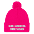 Load image into Gallery viewer, American Patriots Apparel Winter Hats Neon Pink / One Size MAKE AMERICA GREAT AGAIN White Text Pom Pom Knit Cap (10 Variants)