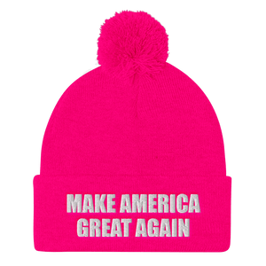 American Patriots Apparel Winter Hats Neon Pink / One Size MAKE AMERICA GREAT AGAIN White Text Pom Pom Knit Cap (10 Variants)