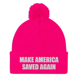 American Patriots Apparel Winter Hats Neon Pink / One Size MAKE AMERICA SAVED AGAIN White Text Pom Pom Knit Cap (10 Variants)