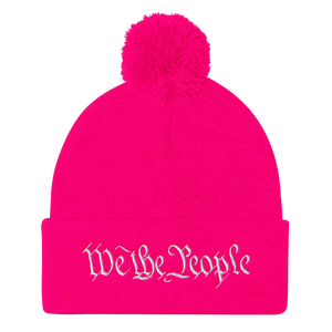 American Patriots Apparel Winter Hats Neon Pink / One Size We the People Pom Pom Knit Cap (10 Variants)