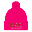 Load image into Gallery viewer, American Patriots Apparel Winter Hats Neon Pink / OSFA KAG Keep America Great! Pom-Pom Beanie (10 Variants)