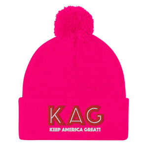 American Patriots Apparel Winter Hats Neon Pink / OSFA KAG Keep America Great! Pom-Pom Beanie (10 Variants)