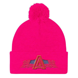 American Patriots Apparel Winter Hats Neon Pink Pom Pom Knit Cap With American Patriots Apparel Logo