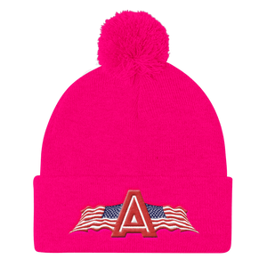 American Patriots Apparel Winter Hats Neon Pink Pom Pom Knit Cap With APA Logo