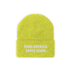 Printify Winter Hats Neon Yellow / One size MAKE AMERICA SAVED AGAIN White Text Acrylic Knit Beanie (11 Variants)