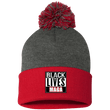 Load image into Gallery viewer, CustomCat Winter Hats Red/Dark Heather / One Size Black Lives MAGA SP15 Pom Pom Knit Cap (12 Variants)