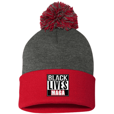 CustomCat Winter Hats Red/Dark Heather / One Size Black Lives MAGA SP15 Pom Pom Knit Cap (12 Variants)