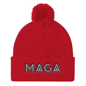 American Patriots Apparel Winter Hats Red MAGA Pom Pom Knit Cap (Flat Embroidery)