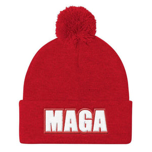 American Patriots Apparel Winter Hats Red MAGA Sportsman SP15 Pom Pom Knit Cap - Red Outline (10 Variants)