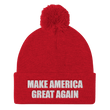 Load image into Gallery viewer, American Patriots Apparel Winter Hats Red / One Size MAKE AMERICA GREAT AGAIN White Text Pom Pom Knit Cap (10 Variants)