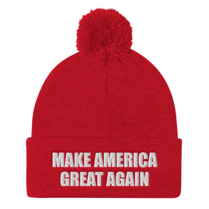 American Patriots Apparel Winter Hats Red / One Size MAKE AMERICA GREAT AGAIN White Text Pom Pom Knit Cap (10 Variants)