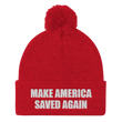 Load image into Gallery viewer, American Patriots Apparel Winter Hats Red / One Size MAKE AMERICA SAVED AGAIN White Text Pom Pom Knit Cap (10 Variants)