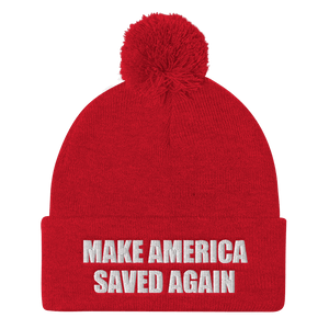 American Patriots Apparel Winter Hats Red / One Size MAKE AMERICA SAVED AGAIN White Text Pom Pom Knit Cap (10 Variants)