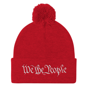 American Patriots Apparel Winter Hats Red / One Size We the People Pom Pom Knit Cap (10 Variants)