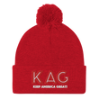 Load image into Gallery viewer, American Patriots Apparel Winter Hats Red / OSFA KAG Keep America Great! Pom-Pom Beanie (10 Variants)