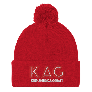 American Patriots Apparel Winter Hats Red / OSFA KAG Keep America Great! Pom-Pom Beanie (10 Variants)