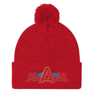 American Patriots Apparel Winter Hats Red Pom Pom Knit Cap With American Patriots Apparel Logo