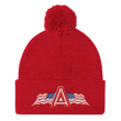 Load image into Gallery viewer, American Patriots Apparel Winter Hats Red Pom Pom Knit Cap With APA Logo