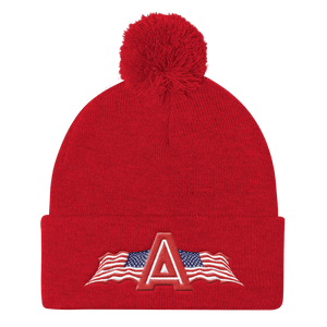 American Patriots Apparel Winter Hats Red Pom Pom Knit Cap With APA Logo