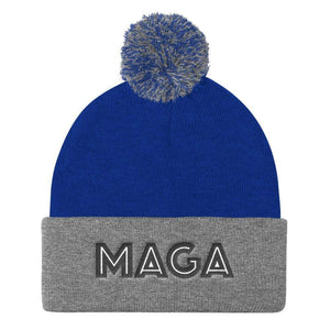 American Patriots Apparel Winter Hats Royal/ Heather Grey MAGA Pom Pom Knit Cap (Flat Embroidery)