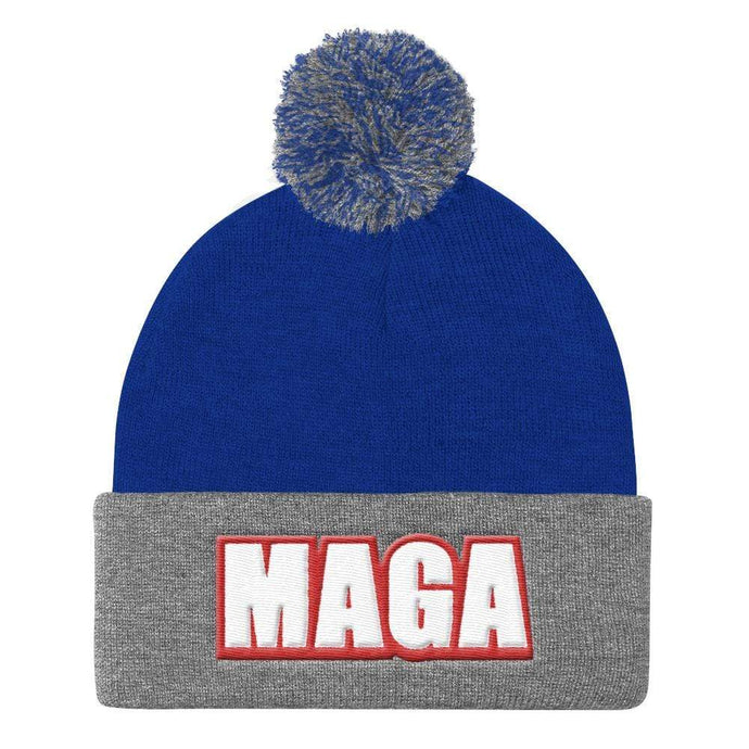 American Patriots Apparel Winter Hats Royal/ Heather Grey MAGA Sportsman SP15 Pom Pom Knit Cap - Red Outline (10 Variants)