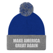 Load image into Gallery viewer, American Patriots Apparel Winter Hats Royal/ Heather Grey / One Size MAKE AMERICA GREAT AGAIN White Text Pom Pom Knit Cap (10 Variants)