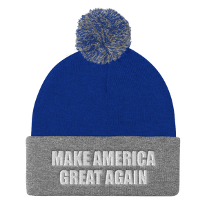 American Patriots Apparel Winter Hats Royal/ Heather Grey / One Size MAKE AMERICA GREAT AGAIN White Text Pom Pom Knit Cap (10 Variants)