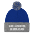 Load image into Gallery viewer, American Patriots Apparel Winter Hats Royal/ Heather Grey / One Size MAKE AMERICA SAVED AGAIN White Text Pom Pom Knit Cap (10 Variants)