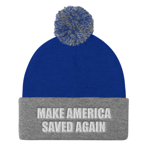 American Patriots Apparel Winter Hats Royal/ Heather Grey / One Size MAKE AMERICA SAVED AGAIN White Text Pom Pom Knit Cap (10 Variants)