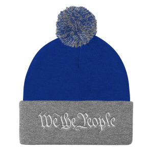 American Patriots Apparel Winter Hats Royal/ Heather Grey / One Size We the People Pom Pom Knit Cap (10 Variants)