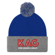 Load image into Gallery viewer, American Patriots Apparel Winter Hats Royal/ Heather Grey / OSFA KAG Keep America Great! Pom-Pom Beanie (10 Variants)