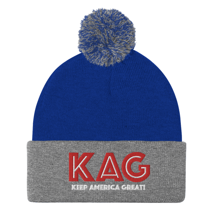 American Patriots Apparel Winter Hats Royal/ Heather Grey / OSFA KAG Keep America Great! Pom-Pom Beanie (10 Variants)