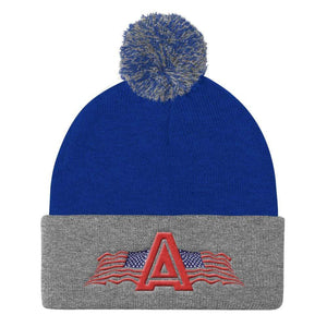 American Patriots Apparel Winter Hats Royal/ Heather Grey Pom Pom Knit Cap With American Patriots Apparel Logo