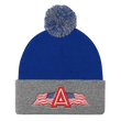 Load image into Gallery viewer, American Patriots Apparel Winter Hats Royal/ Heather Grey Pom Pom Knit Cap With APA Logo