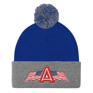 American Patriots Apparel Winter Hats Royal/ Heather Grey Pom Pom Knit Cap With APA Logo
