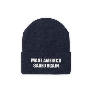 Printify Winter Hats True Navy / One size MAKE AMERICA SAVED AGAIN White Text Acrylic Knit Beanie (11 Variants)