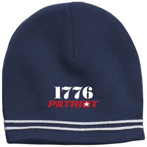 CustomCat Winter Hats True Navy/White / One Size 1776 Patriot Star Beanie (3 Variants)