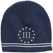 Load image into Gallery viewer, CustomCat Winter Hats True Navy/White / One Size III% Stars STC20 Colorblock Beanie (3 Variants)