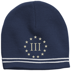 CustomCat Winter Hats True Navy/White / One Size III% Stars STC20 Colorblock Beanie (3 Variants)