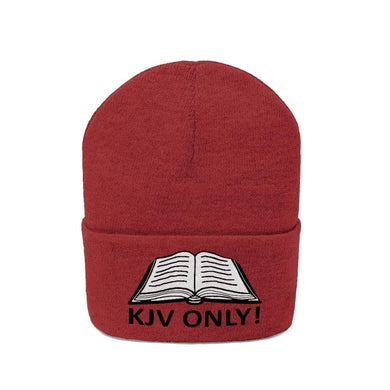 Printify Winter Hats True Red / One size KJV Only! White Text Acrylic Beanie (10 Variants)